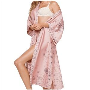 VS Dream Angels long satin kimono robe blush tone